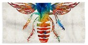 Bee Colorful - Art By Sharon Cummings Beach Sheet