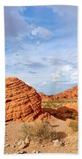 Beehive Rock Formation Under A Stormy Sky In Nevada Valley Of Fire State Park Beach Towel