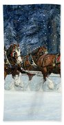 Clydesdales 8 Hitch On A Snowy Day Beach Towel