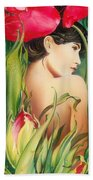 Behind The Curtain Of Colours -the Tulip Beach Towel