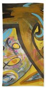 Being Easy Original Abstract Colorful Figure Painting For Sale Yellow Umber Blue Pink Beach Towel