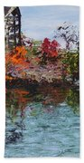 Bell Tower At The Botanic Gardens In Autumn Beach Towel
