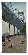 Ben Franklin Bridge And Pier Beach Towel