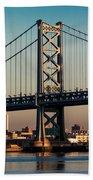 Ben Franklin Bridge Over Delaware River Beach Towel