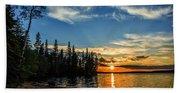 Beautiful Sunset At Waskesiu Lake Beach Towel