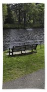 Bench On Shore Of River Ness In Inverness Beach Towel
