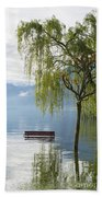 Bench With Trees On A Flooding Alpine Lake Beach Towel