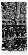 Benches In The Snow - Bw Beach Towel