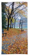 Benches Of Fall Beach Towel