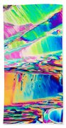 Benzoic Acid Crystals In Polarized Light Beach Towel