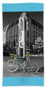Berlin Street View With Bianchi Bike Beach Towel