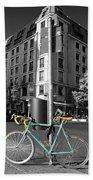 Berlin Street View With Bianchi Bike Beach Towel by Ben and Raisa Gertsberg