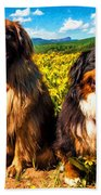 Bernese Mountain Dog And Leonberger Among Wildflowers Beach Towel