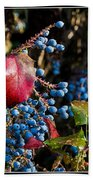Berries And Red Leaves After The Rain Beach Towel