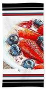 Berries And Yogurt Illustration - Food - Kitchen Beach Towel