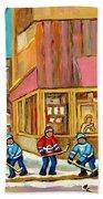 Best Sellers Original Montreal Paintings For Sale Hockey At Beauty's By Carole Spandau Beach Towel