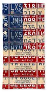 Betsy Ross American Flag Michigan License Plate Recycled Art On Red Board Beach Towel