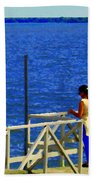 Between Sky And Sea Lachine Canal Viewing Pier Picturesque Water Scenes Montreal Art Carole Spandau Beach Towel