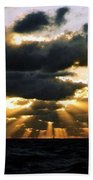 Crepuscular Biblical Rays At Dusk In The Gulf Of Mexico Beach Towel