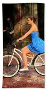 Bicycle Girl 1c Beach Towel