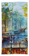 Bicycle In Amsterdam Beach Towel by Leonid Afremov