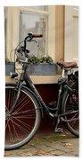 Bicycle With Baby Seat At Doorway Bruges Belgium Beach Towel