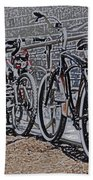 Bicycles On A Rail Beach Towel