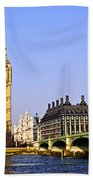 Big Ben And Westminster Bridge Beach Towel