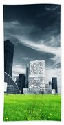 Big City And Green Fresh Meadow Beach Towel