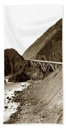 Big Creek Bridge Double Arched Concrete Bridge On Highway 1. About 40 Miles South Of Monterey  1935 Beach Towel