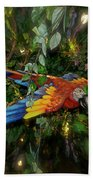 Big Glider Macaw Digital Art Beach Towel