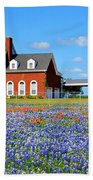 Big Red House On Bluebonnet Hill Beach Towel
