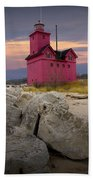 Big Red Lighthouse By Holland Michigan Beach Towel