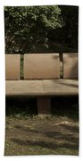 Big Stone Bench Inside The Garden Of 5 Senses Beach Towel