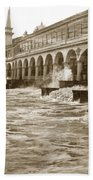 Big Storm Waves At Santa Cruz Beach And Casino And Beach Ca Circa 1925 Beach Towel