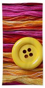 Big Yellow Button  Beach Towel