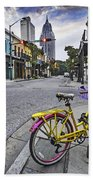 Bike And 3 Georges In Mobile Alabama Beach Towel