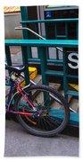 Bike At Subway Entrance Beach Towel
