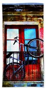 Bike In The Balcony Beach Towel
