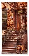 Bike - Ny - Greenwich Village - An Orange Bike  Beach Towel by Mike Savad