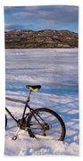 Bike On Frozen Lake Laberge Yukon Canada Beach Towel