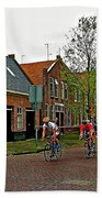 Bike Race On Orange Day In Enkhuizen-netherlands Beach Towel