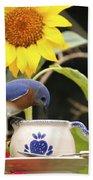 Bluebird And Tea Cup Beach Towel