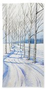 Birch Trees Along The Curvy Road Beach Towel