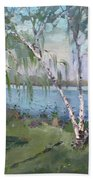 Birch Trees By The River Beach Towel