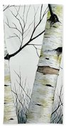Birch Trees In The Forest By Christopher Shellhammer Beach Towel