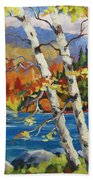 Birches By The Lake Beach Towel
