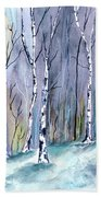 Birches In The Forest Beach Towel