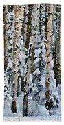 Birches In The Winter Beach Towel