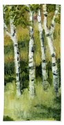 Birches On A Hill Beach Towel by Michelle Calkins